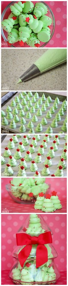 DIY Christmas Tree Meringues More christmas food treats Xmas Food, Christmas Sweets, Christmas Cooking, Diy Christmas Tree, Christmas Goodies, Christmas Candy, All Things Christmas, Winter Christmas, Christmas Holidays