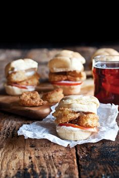 """fattributes: """" Beer-Battered Shrimp Po'Boy Sliders with IPA Creole Mayo """" Todos Santos Baja California, Beer Battered Shrimp, Shrimp Po Boy, New Orleans Recipes, Cooking With Beer, What's Cooking, Boite A Lunch, Slider Recipes, Bite Size"""