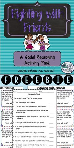 Social Skills Problem Solving: Fighting with Friends FREE: 12 task cards and true/false worksheet with answer key for middle and high school students working on social skills related to disagreements with friends. Elementary and Middle School Counseling Social Skills Lessons, Social Skills Activities, Teaching Social Skills, Counseling Activities, Social Emotional Learning, Life Skills, Group Counseling, Articulation Activities, Coping Skills