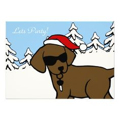 "Whimsical and funny Labrador Retriever Cartoon created by Naomi Ochiai from Japan.  Cute Chocolate Labrador Cartoon design with Santa Hat.  Nice for dog lovers who love Chocolate Labrador Retrievers for Christmas.  Shades make the Labrador look so cool!!  You can customize text and more! <br> <a href=""http://www.zazzle.com/happylabradors/gifts?cg=196811834152819739""><img ..."