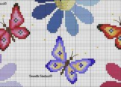 Butterfly Cross Stitch, Cross Stitch Borders, Cross Stitch Alphabet, Cross Stitch Flowers, Cross Stitch Charts, Cross Stitch Patterns, Knitting Patterns, Pearl Crafts, Patron Crochet