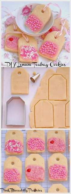 Pink Piccadilly Pastries: How to Make LEMON TEABAG COOKIES & DIY TEA TAGS, use the paper tag as a name card?