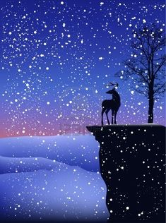 detailed Christmas landscape - deer on a cliff during snowfall Stock Photo