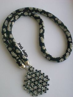 Crochet Bead Necklace Crochet NecklaceBlack and White by NAZLI70, $60.00