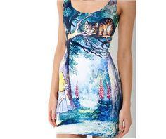 Alice Wonderland Sleeveless Bodycon Minidress-Dresses