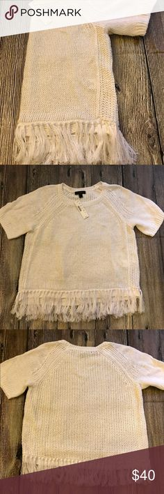 JCrew white linen shirt sleeve sweater NWT! Super cute linen sweater with fringe detail at the bottom. Layer with a tank or cami underneath and jeans or shorts. JCrew Sweaters Crew & Scoop Necks
