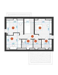 DOM.PL™ - Projekt domu DZW ATRAKCYJNY 1 CE - DOM DW1-43 - gotowy koszt budowy Concept Home, House Layouts, Dom, Floor Plans, Houses, Design, Interiors, Modular Homes, Homes