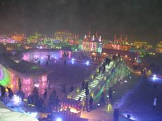 Harbin International Ice and Snow Festival 2005--Ice constructions all aglow.
