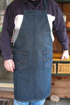 Denim Apron Upcycled Jeans Apron Craft Apron by SimpleJoysofLife