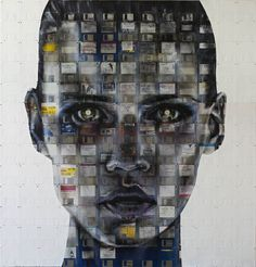 THE HACKER  2012  Oil and used computer disks on wood  112cm x 117cm