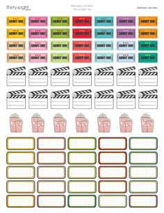 Plan your movie nights with this planner sticker set for Erin Condren, Happy Planner, Filofax or any organizer you have!