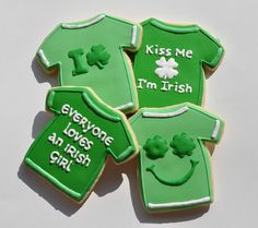St. Patrick's Day Shirt Cookies by Sweet Elisabeth,