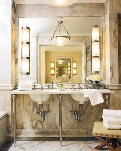 Beautiful Marble Bathroom...BUT...I hate seeing the underside of the bowls and the traps.