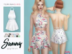 sims 4 cc // custom content clothing // the sims resource // TsminhSims' Sunny Outfit Sims 4 Mods Clothes, Sims 4 Clothing, Sims 4 Pets, Sims 4 Dresses, Sims 4 Outfits, The Sims 4 Packs, Vetements Clothing, Sims4 Clothes, Play Sims