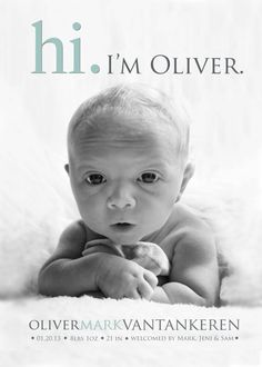 Hi BABY ANNOUNCEMENT  Photo Birth Announcement  Baby by babybaloo