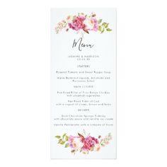 Delicate and Dreamy Bouquet Wedding Menu Card - wedding invitations diy cyo special idea personalize card