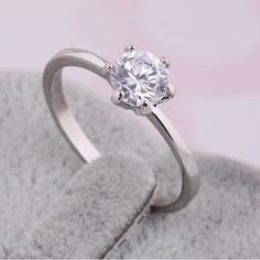 Meaningful Platinum Plated Engagement Ring, with AAA Zircon, Platinum
