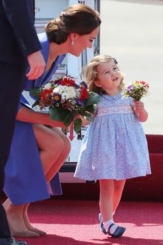 Princess Charlotte received her first bouquet of flowers when the royal family arrived in Berlin in July 2017.