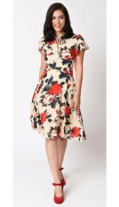 Preorder -  Unique Vintage 1940s Style Cream Floral Formosa Swing Dress