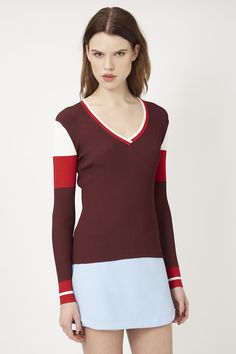**Striped V-Neck Jumper by Unique - Topshop Europe