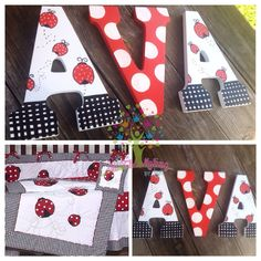 Custom painted lady bug theme nursery letters by InTheMakingbyTori