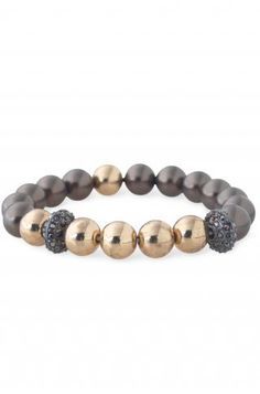 Brown & Gold Ball Stretch Bracelet | Brown Maisie Pearl Bracelet