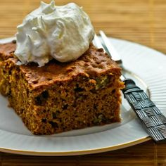 Recipe for Low Sugar and Whole Wheat Apple-Pear Cake with Cinnamon and Pecans; this is a perfect cake for fall.  I use Stevia in the Raw granulated sweetener with just a tiny bit of brown sugar.   [from Kalyn's Kitchen]