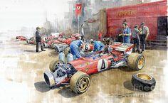 Yurly Shevchuk WATERCOLOR Scuderia Ferrari Paddock Spanish Gp 1971 Ferrari 312b2