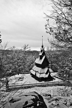 Snowy Fantoft Stave Church, Norway