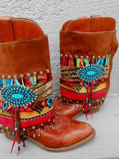 Rita Rancho Tribal Boot cuffs by LotusRootsCreations on Etsy. They slip over the boots.