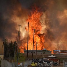 A raging wildfire in the Canadian city of Fort McMurray continues its destruction in the oil sands region burning 80% of homes in one neighborhood and forcing some 80000 people to evacuate the city on May 3 2016. Read more on TIME.com.  Photograph by CBC News@reuters. by time