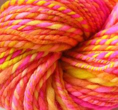 Handspun Yarn Hand Dyed Bulky Merino Wool Yarn Neon by FiberFusion