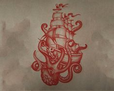 Red Octopus Ship Tattoo Design Idea,  #Design #idea #Octopus #Red #redoctopustattoodesign #sh...,  #Design #idea #Octopus #octopustattoodesignkraken #Red #redoctopustattoodesign #ship #Tattoo Octopus Tattoo Design, Tattoo Designs, Tattoo Ideas, Rockabilly, Red Octopus, Ship Drawing, Chest Piece, Ship Art, Blue Rings