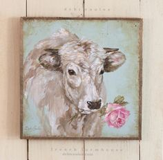French Farmhouse French Cow with Rose by Debi Coules. Available at www.debicoules.com