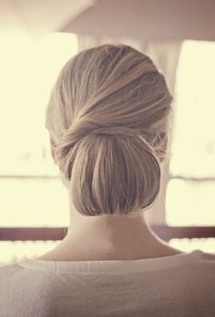Classy Updo Chignon-- perfect with sparkle or flower detail tucked in by the twist!!