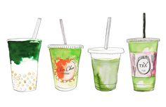 Snackchat: best Matcha in Amsterdam Tea Restaurant, Desserts Drawing, Best Matcha, Matcha Drink, Tea Illustration, Pineapple Wallpaper, Green Tea Latte, Hand Drawn Cards, Watercolor Food