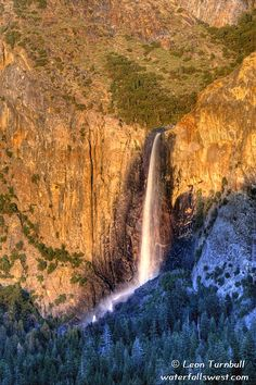 Bridalveil Fall at sunset, Yosemite Valley, California by Leon Turnbull