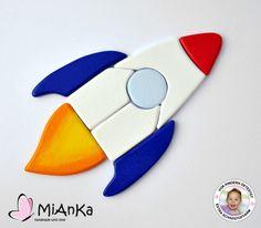 Cohete Rompecabezas de madera azul / rojo