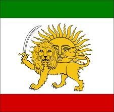 The Iranian QATAR flag, showing the Lion and the Sun