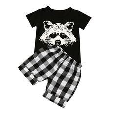 Black Color Baby Set Toddler Baby Boy Fox T shirt Tops Plaid Shorts Pants Outfits Clothes Set Set  Dropshipping JC23 #Affiliate