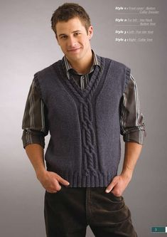 Vest pattern by Patons Australia -Cable Vest pattern by Patons Australia - Baby Hats Knitting, Sweater Knitting Patterns, Outfits Casual, Mode Outfits, Mens Vest Pattern, Gents Sweater, Sweater Vests, Crochet Men, Bodybuilding Clothing