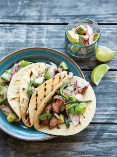 Poblano chiles, crunchy radishes and creamy avocados add a hit of freshness to grilledskirt steak in these satisfying tacos. Let everyone assemble their own for casual, easy serving.  Steak ...