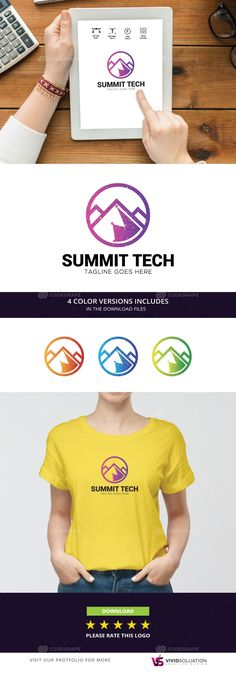 Mountain Tech Logo are vector based built in Illustrator software. They are fully editable and scalable without losing resolution.'Logo Features:' - Full vectors - editable and scalable - Editable colors - 4 color Summit Tech, Tech Logos, Mountain, Ice Cream, Animation, Prints, Mens Tops, No Churn Ice Cream, Icecream Craft