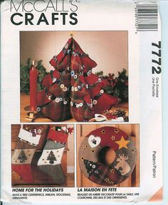 Creative holiday accents to make for your home! McCalls 7772 Crafts Xmas Deco Tree Wreath Stocking ornaments UNCUT Pattern FF #McCallsCrafts #Xmasdeco
