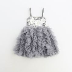 Daria ~ Grey Tutu Floral Dress