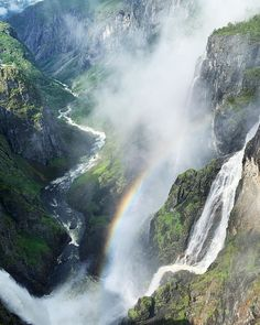"""Visit Norway on Instagram: """"Chasing waterfalls and rainbows in Norway is like ... ❤️ swipe for the video;)  The Vøringsfossen waterfall is one of the best-known…"""""""