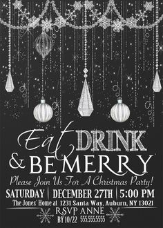 Custom Glitter Christmas Party Invitations, Chalkboard Ornament Classy Christmas Party invites, several styles, glitter & chalkboard