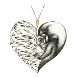 Osteology - Love and death depicted as a contorted ribcage and a ferret. Balanced by a golden pendant.