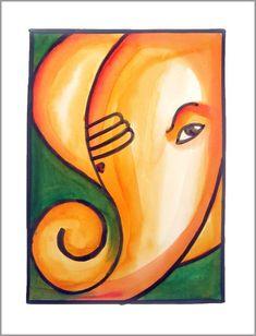 Buy original paintings and get special edition prints of popular art by renowned artists; Ganpati Drawing, Ganesha Drawing, Lord Ganesha Paintings, Ganesha Art, Ganesh Pic, Art Drawings For Kids, Drawing For Kids, Indian Art Paintings, Abstract Paintings
