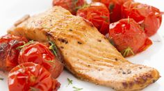 Salmon with Roasted Tomatoes - it all gets arranged and roasted on a baking sheet on a piece of foil or parchment so even cleanup is easy! Bariatric meals for entire family. EASY!